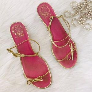 Lilly Pulitzer Palm Beach Gold Ankle Strap Heel
